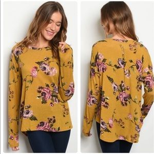 CLEARANCE!!! Floral Mustard High Low Long Sleeve